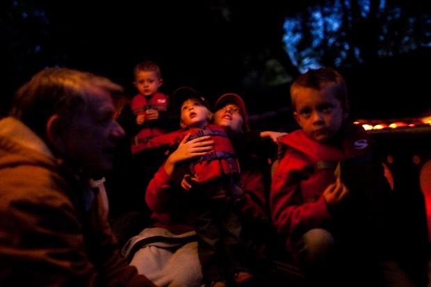 Little children look around on the Halloween Cruise