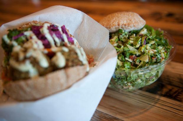 Falafel sandwich and a salad