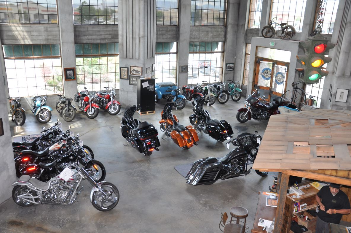 Vintage motorcycles on display in Legends Motorcycle Emporium