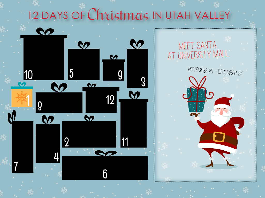 Click on each present to reveal a new Christmas event in Utah Valley