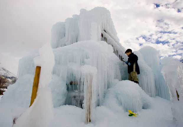 Homemade ice castle in Alpine, Utah