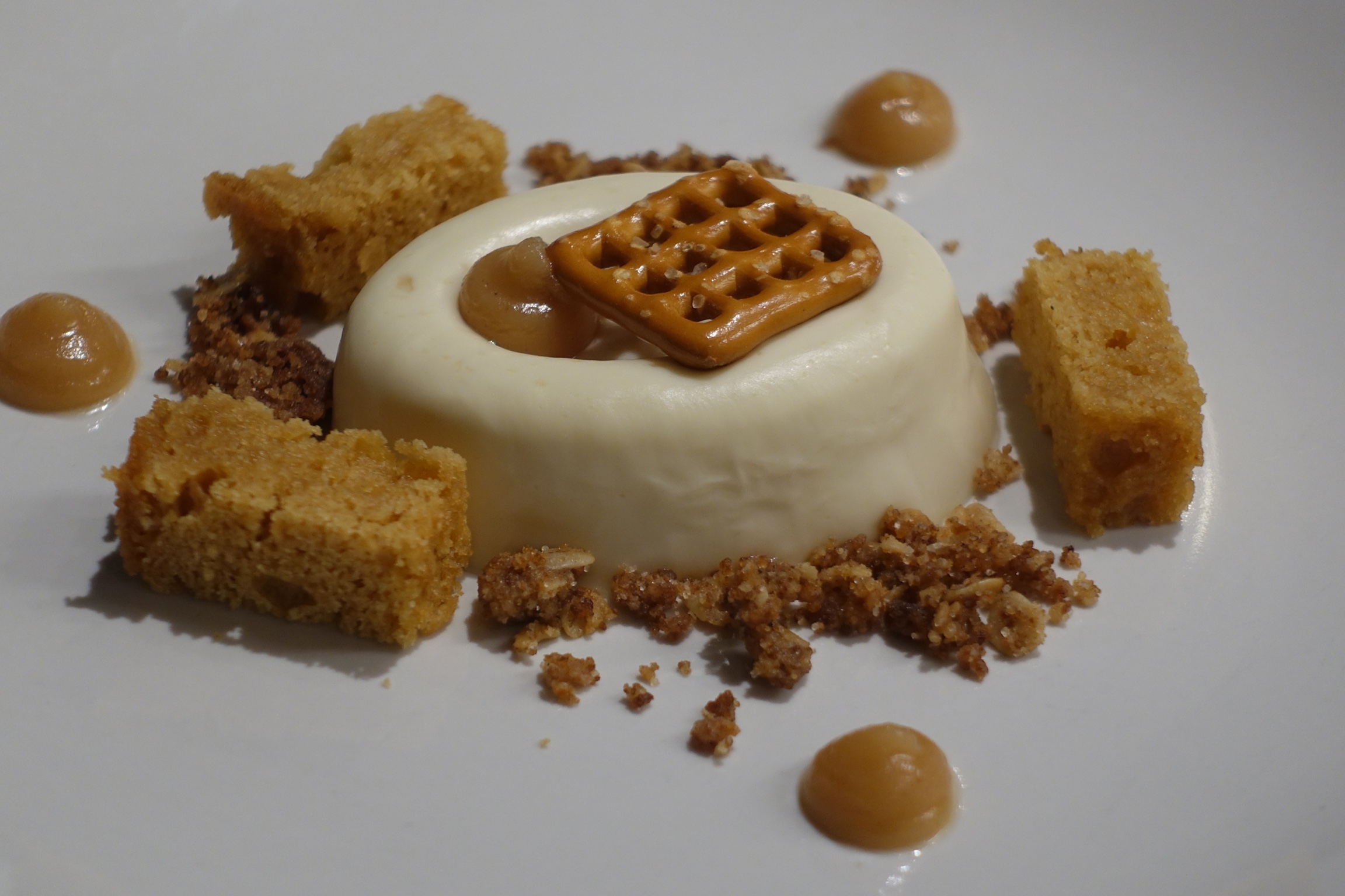 Pretzel Panna Cotta with Burnt Sugar Cake