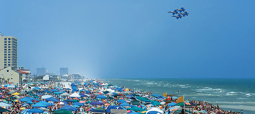 Blue Angels flying over Pensacola Beach