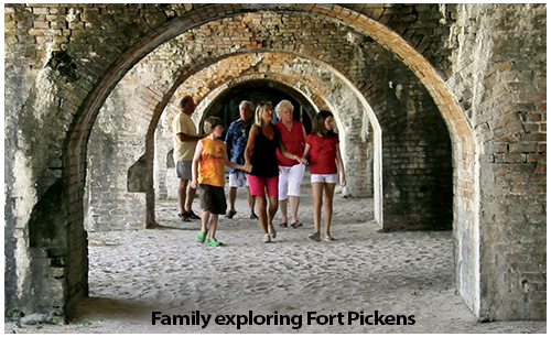 Family exploring Fort Pickens