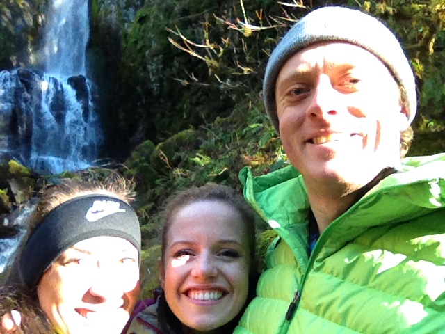 Jill, me and Jesse smiling in front of Lower Kentucky Falls