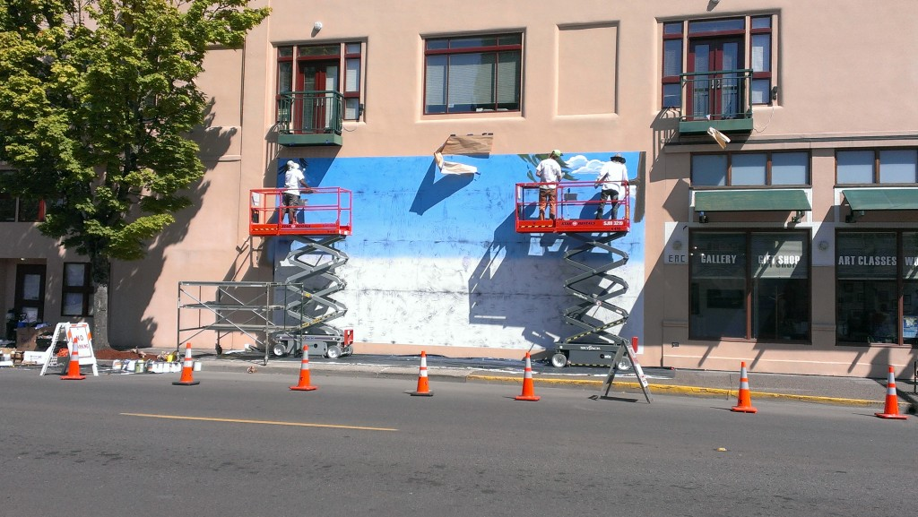 Artists begin working on The Simpsons' mural at Emerald Art Center in Springfield, OR