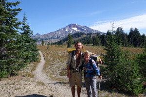 Phil and Julia on the Pacific Crest Trail with South Sister in the background