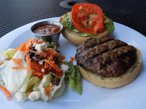 The classic bison burger ($8.50) with a side salad on the patio in Manhattan, Kansas.