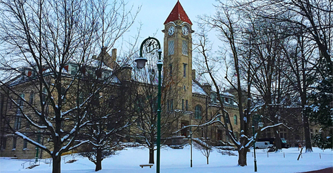 IU Clock Tower snow