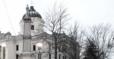 Monroe County Courthouse in snow