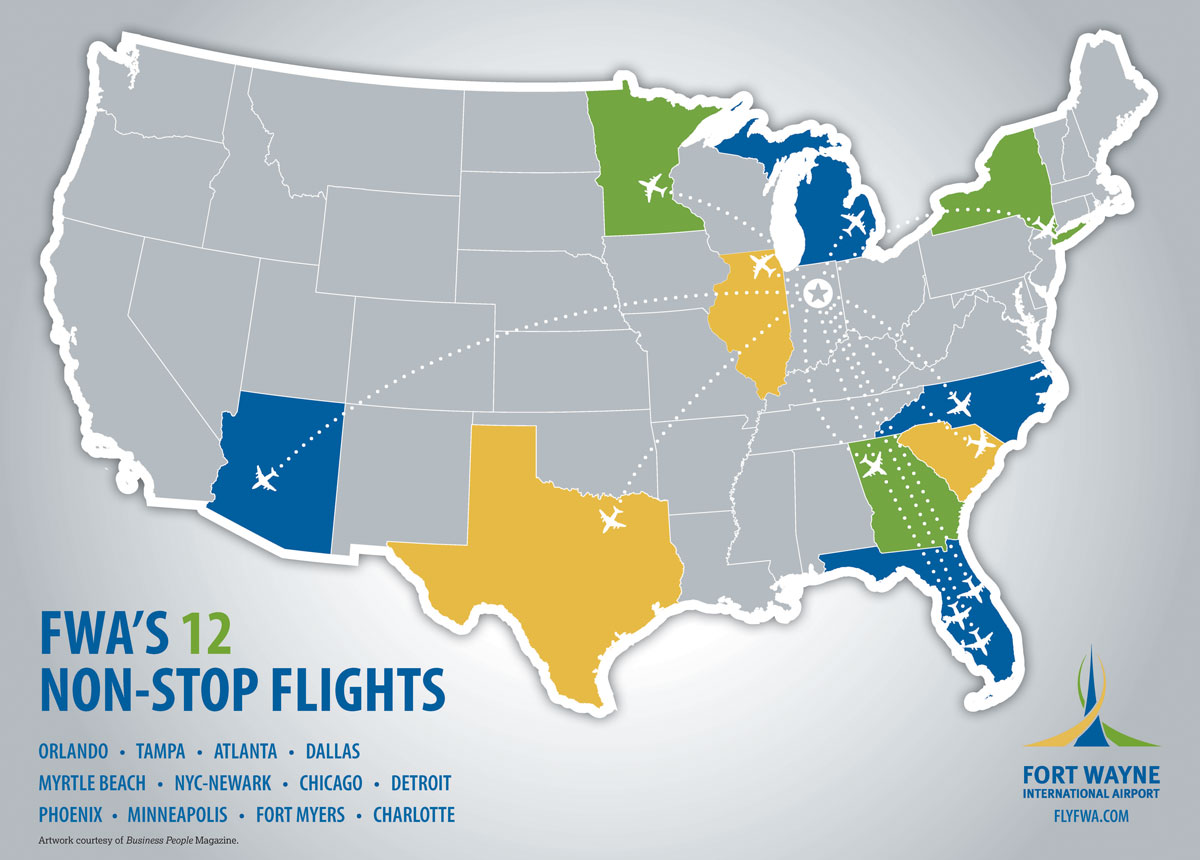 Map of Non-Stop Flights from FWA