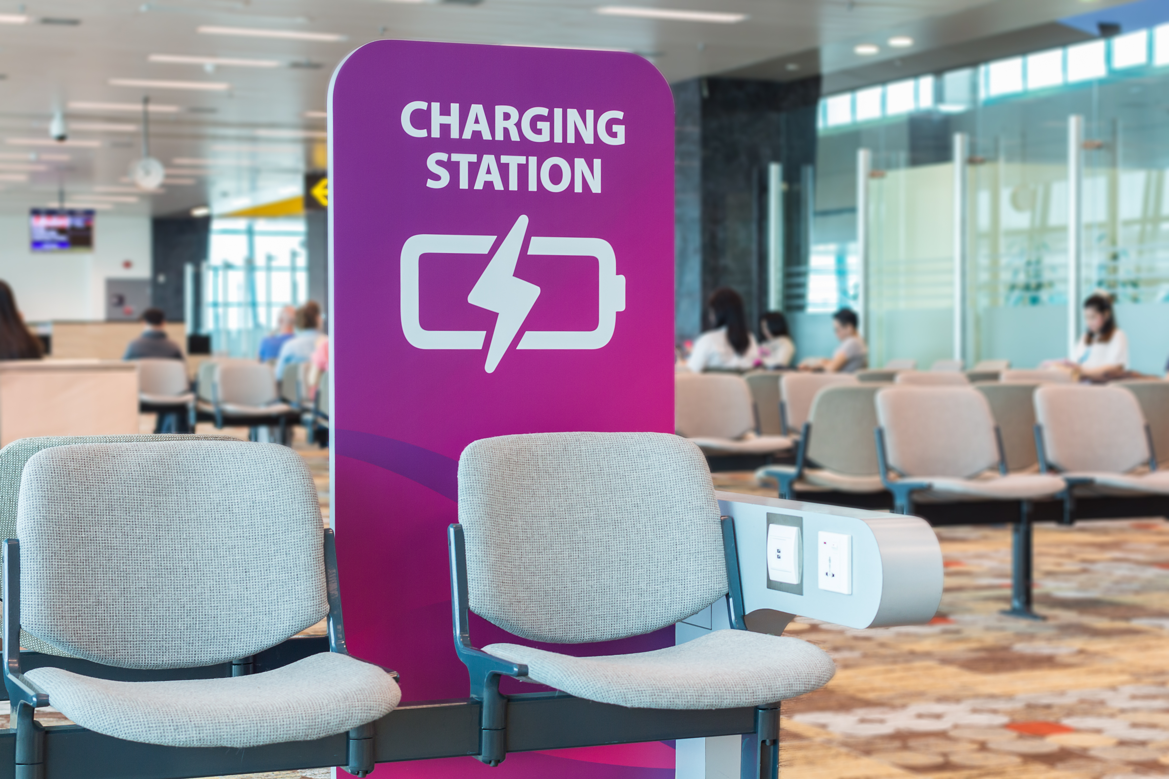 A Charging Station in an airports