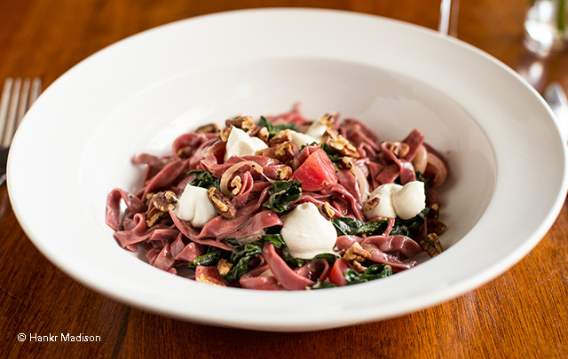 Beet Fettuccine with Smoked Goat Cheese