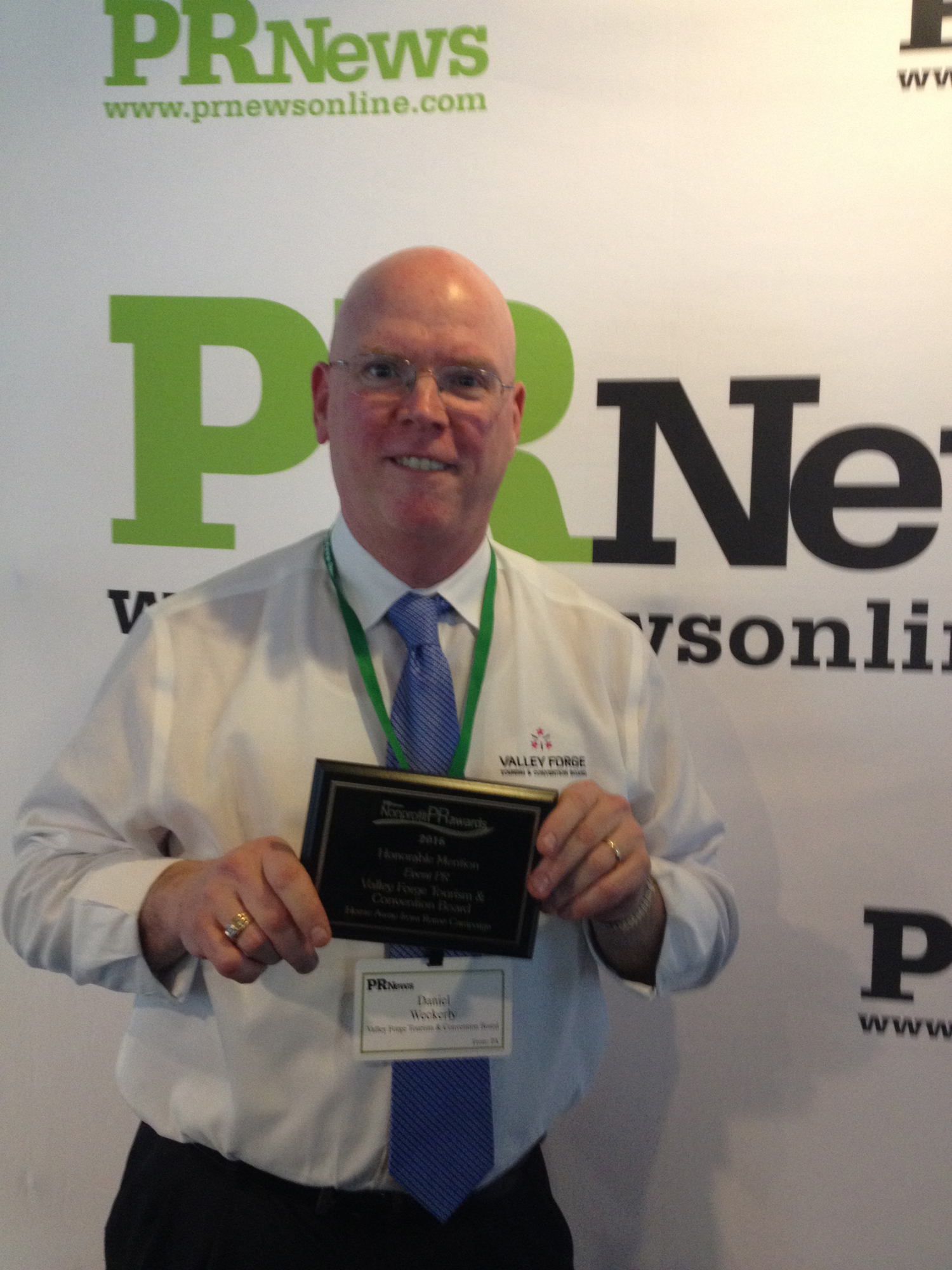 Valley Forge Tourism & Convention Board Communcations Manager Dan Weckerly accepts an award from PR News at the National Press Club in Washington, D.C. The honor was for the VFTCB's campaign associated with the 2015 Papal visit.