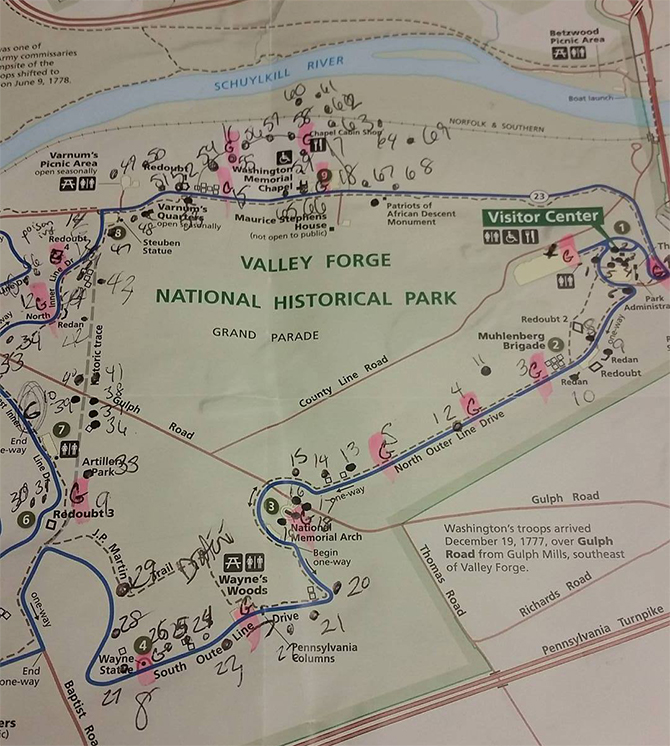 The humble, highlighter beginnings of the Valley Forge Park Interactive Map