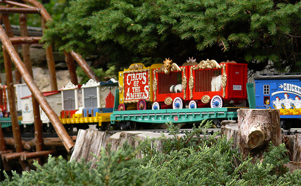 The Circus train will be running on the Morris Arboretum's Garden Railway all weekend.