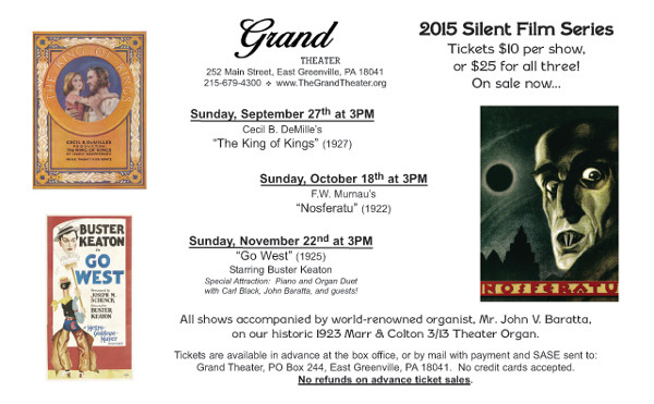 The Grand Theater's Silent Film Series continues with
