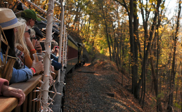 Enjoy the scenery from the Colebrookdale Railroad's open car during this weekend's Bountiful Harvest Trains.