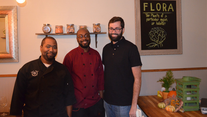 Dessert Chef Lamar Bell, Chef Timothy Thomas and Owner Dan Brightcliffe have made Flora a vegan destination.