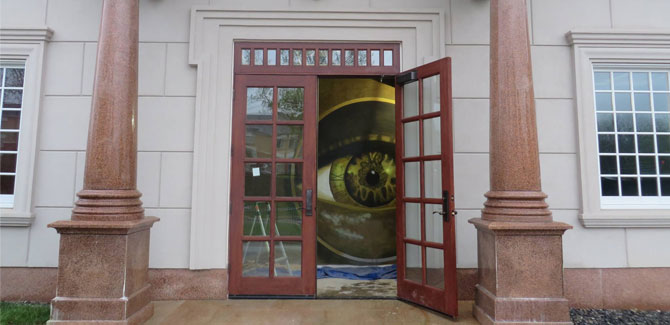 The all-seeing eye is watching for Escape Room challengers.