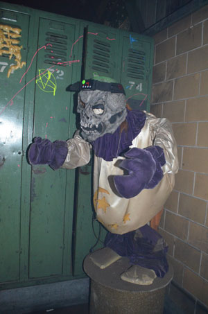 The lockers are original. The zombie was added later.
