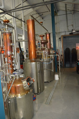 The former mechanical room at Tyco Sprinklers now houses Boardroom's stills.