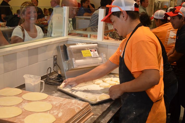 The pitas-to-be are all made fresh in-store.