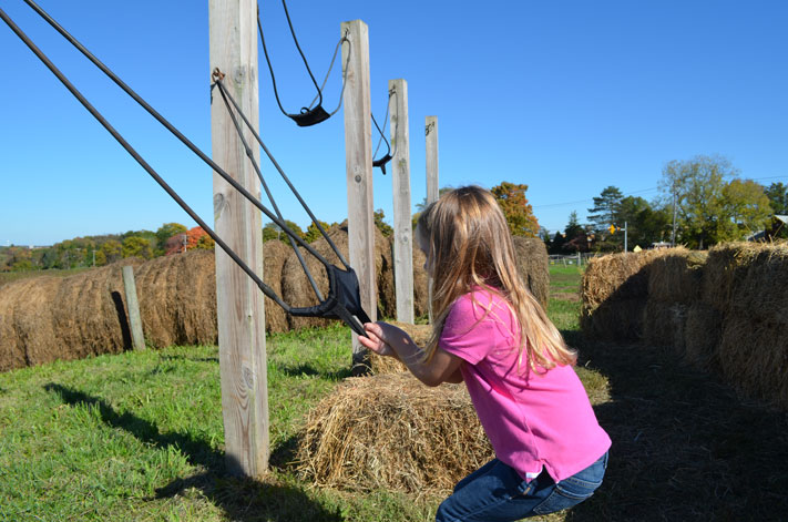 The apple slingshot is one of the most popular attractions during Fall Fest Weekends.