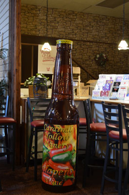 A bottle of Boyd's famous jalapeno wine.