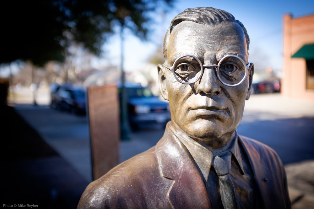 Benjamin R. Wall statue is a life-size tribute to Grapevine's fourth mayor.