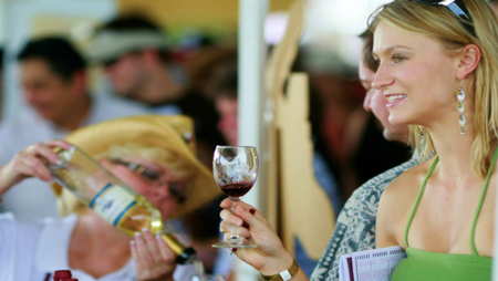 People Line Up For Wine Tasting at GrapeFest