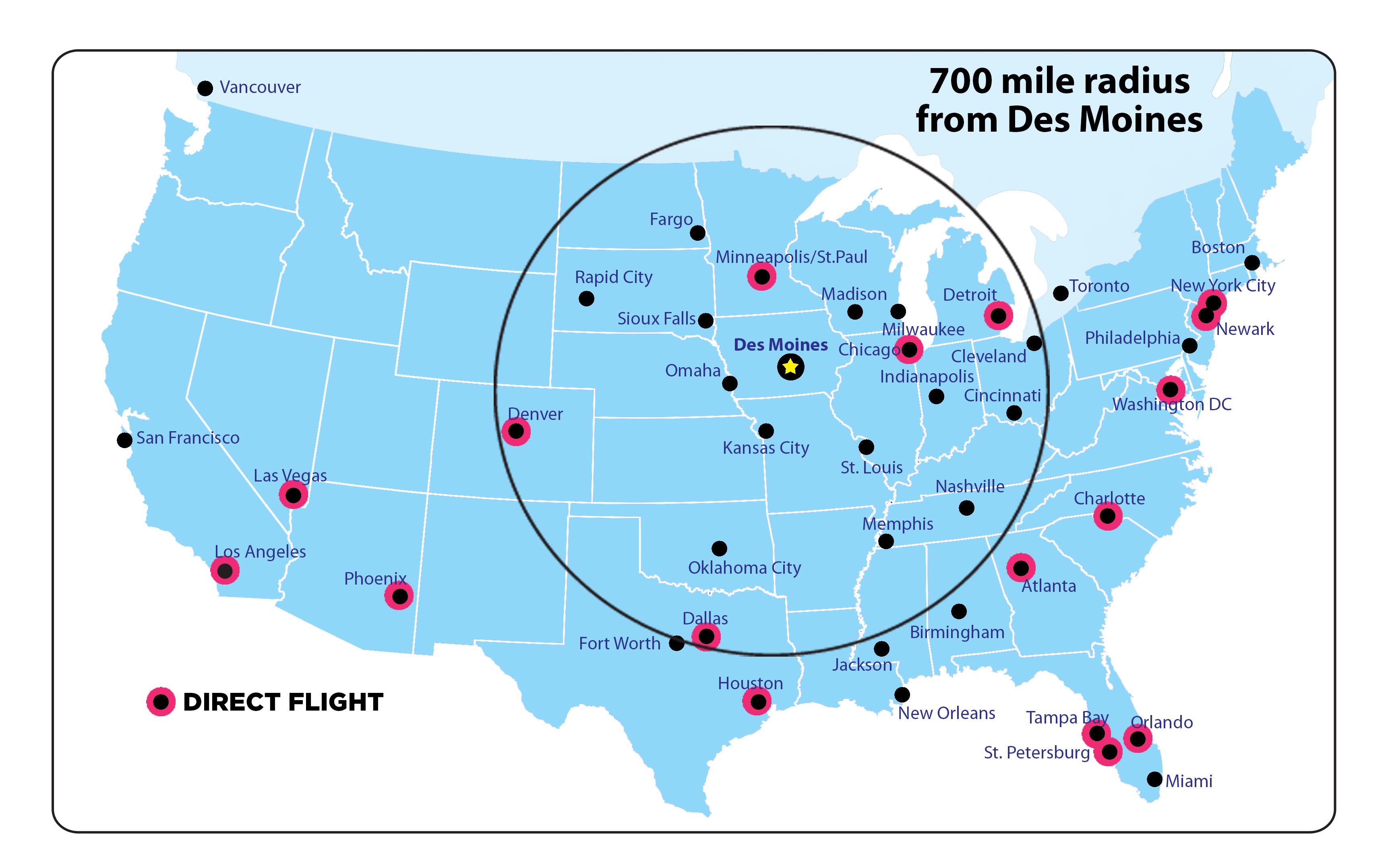 Des Moines Direct Flight Map