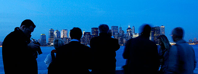 Viewing the NYC skyline at night in winter
