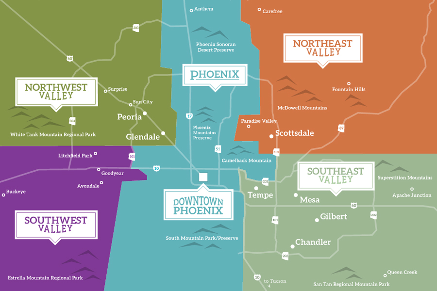 Communities Map  VisitPhoenixcom