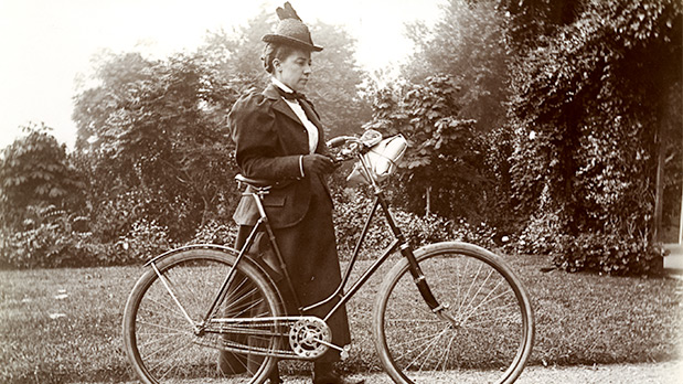 Alice Austen self-portrait with bicycle, 1897. Photograph Alice Austen; Courtesy Alice Austen House