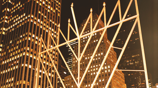 Hanukkah menorah at The Plaza Hotel in Manhattan; photo: Gansevoort Park Ave