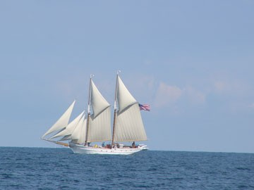 The OMF Ontario under test sail; photo: Oswego Maritime Foundation.