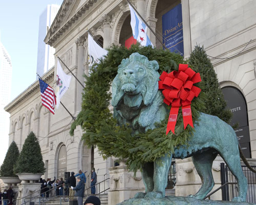 Art Institute Lion Wreath Holidays