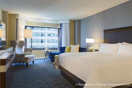 King room at Renaissance Chicago Downtown Hotel