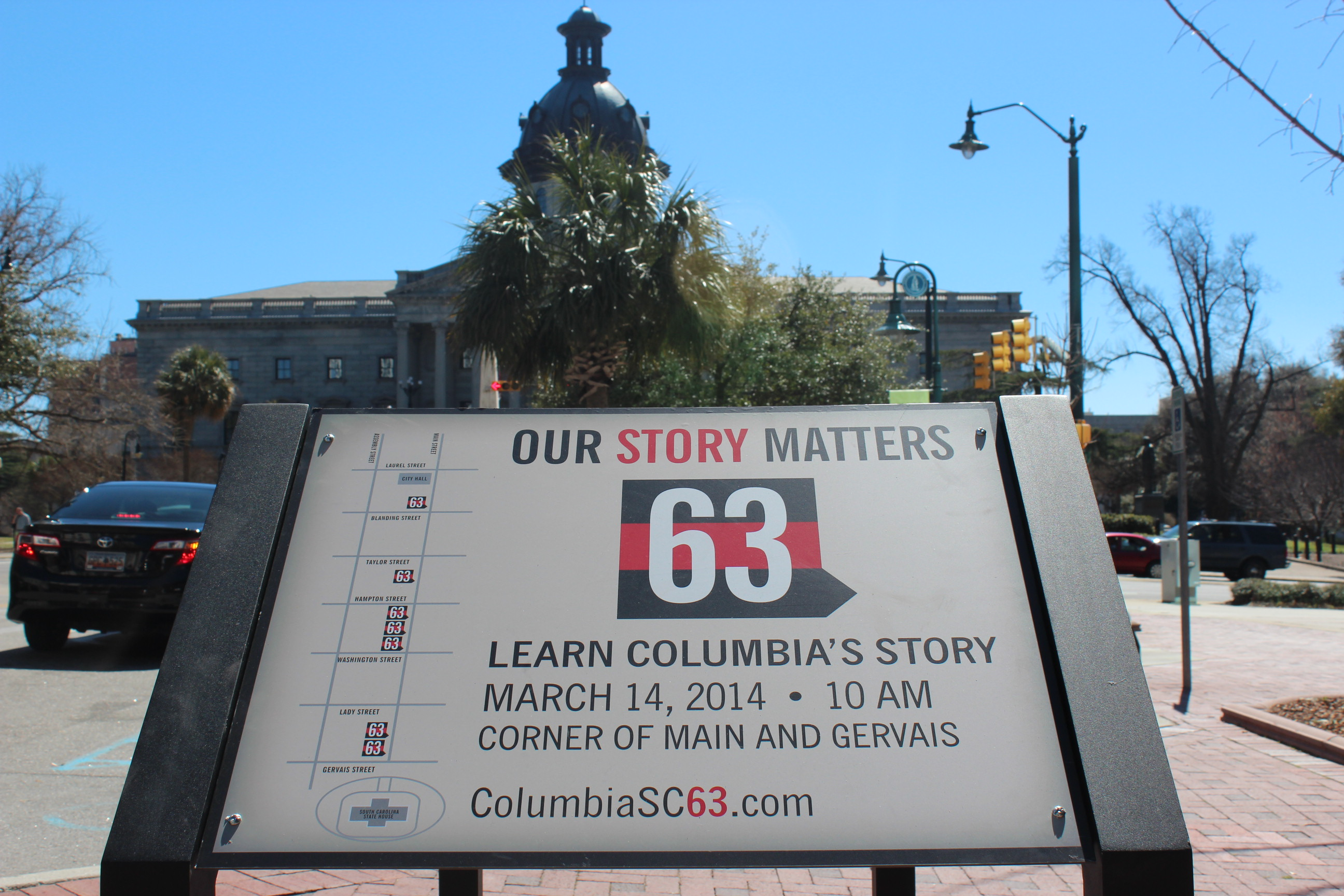 Columbia SC 63 Wayside Signs mark important points along Main Street in Columbia, SC's Civil Rights history