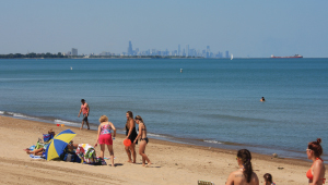 Beach-goers at Whihala Beach in Whiting