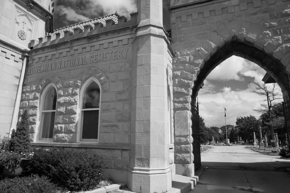 Entrance to Bohemian National Cemetery in Chicago