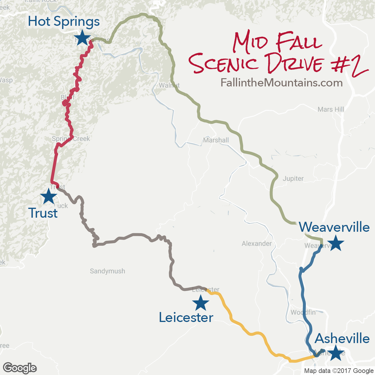 Asheville Mid Fall Scenic Drive Route