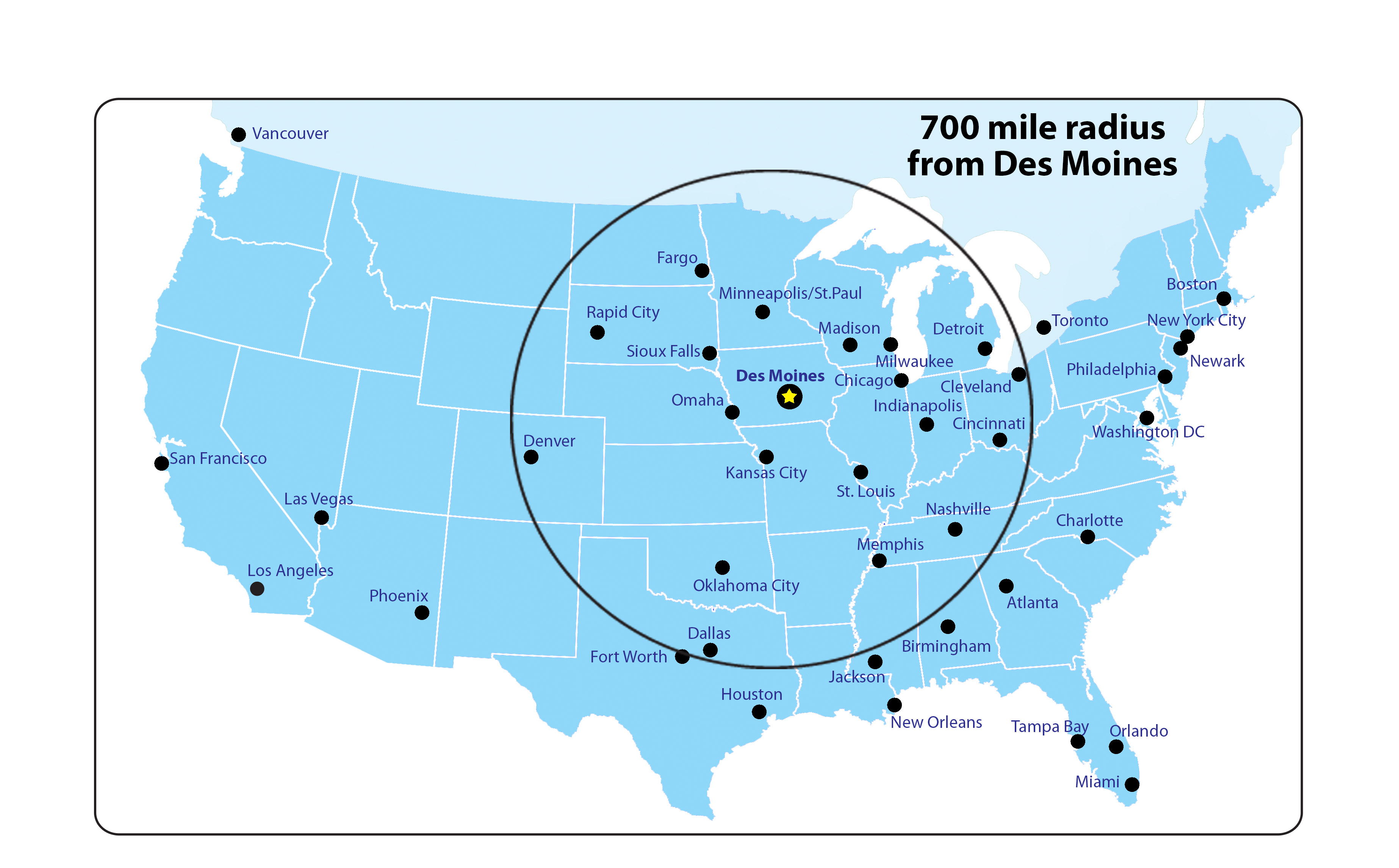 Driving Mileage to Des Moines & Neighboring Cities
