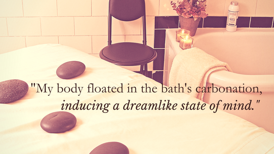 """My body floated in the bath's carbonation, inducing a dreamlike state of mind."" over image of Roosevelt Bath & Spa room"