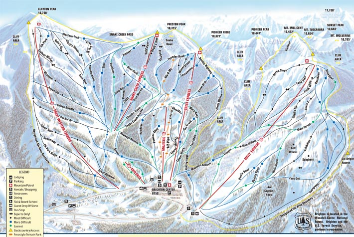 Brighton Utah Map.Brighton Ski Resort Ski City Resorts