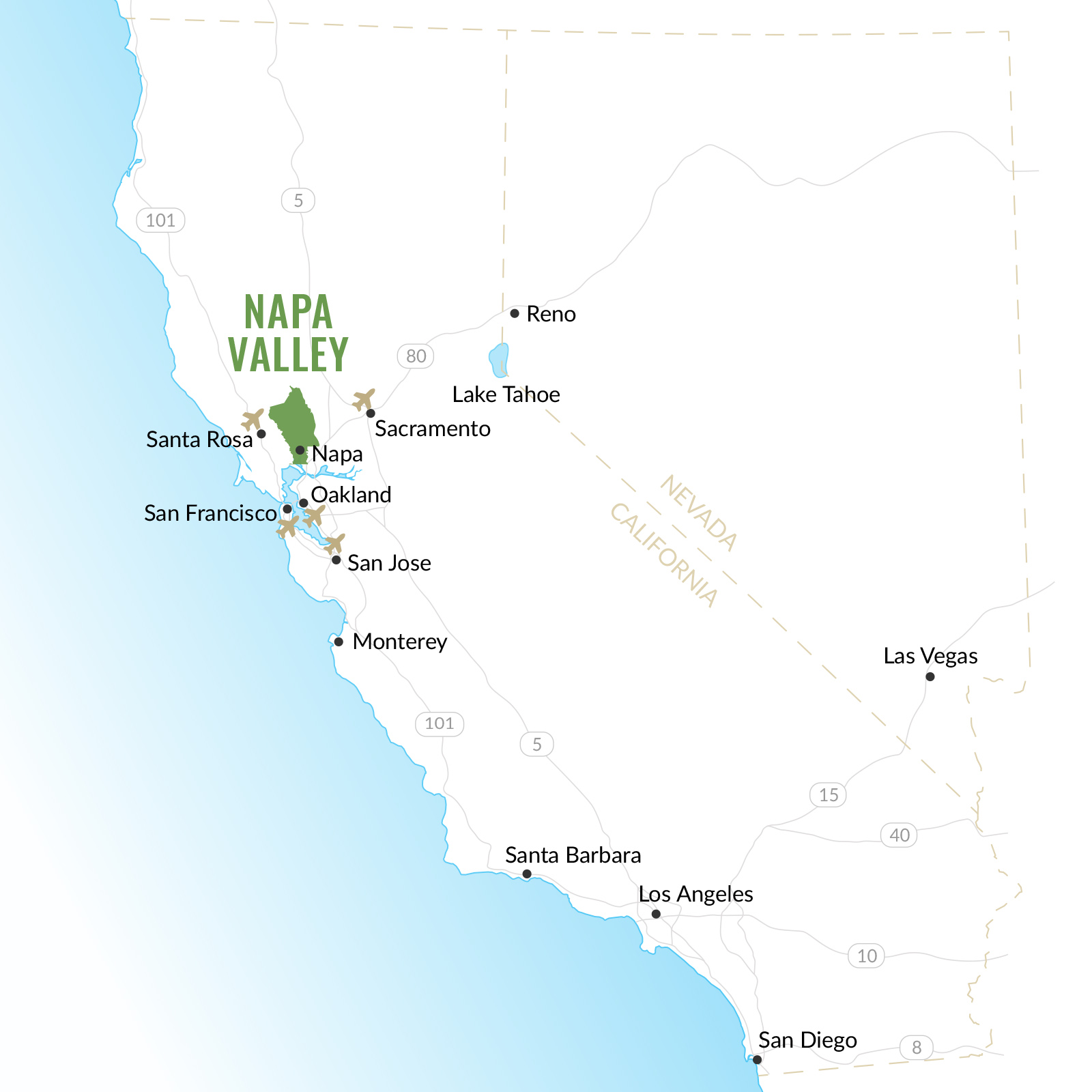 Napa Valley Map Of California Wine Country
