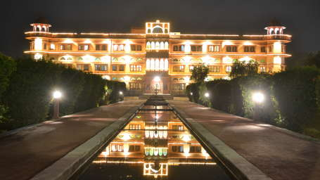 Umaid Lake Palace Dausa  Hotel Facade - Palace light up at night 2