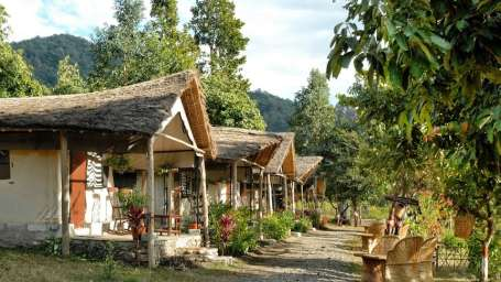 Exterior view of Swiss Tents at Hideaway River Lodge Hotel and Resort in Jim Corbett National Park