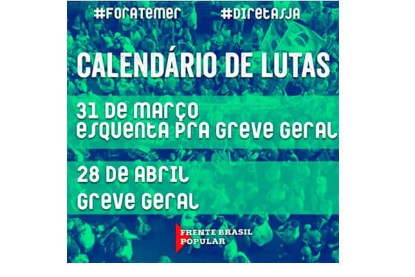 31 de março é Dia Nacional de Lutas contra as reformas